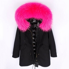 Famous Ladies Duck Down Lining Real Raccoon Collar Fur parka Coat