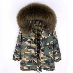 New Arrival Women Real Super Large Raccoon Fur Parka Down Feather Lining Jackets Fashion Winter Warm Coat