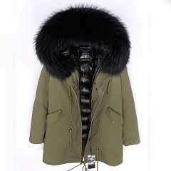 2020 New Style Real Fur Collar Down Coat Lining Green Colour Warm Parka