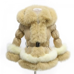Winter Puffer Jacket Beige Down Coat With Raccoon Fur Trim 2X2